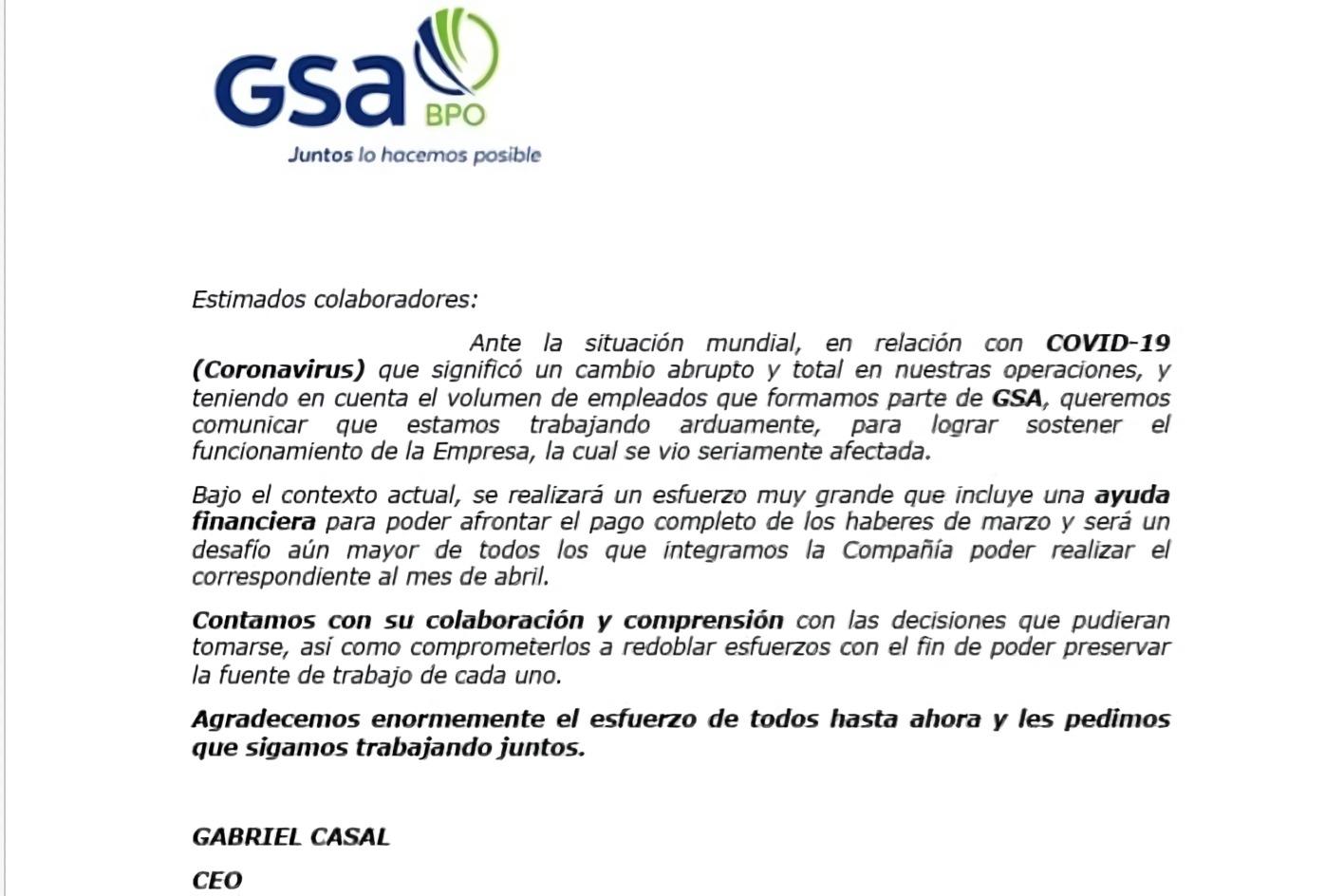 El call center de Cablevisión recortó empelados eventuales y avisa que no sabe si pagará abril