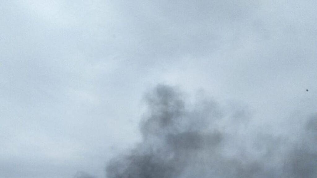 Columna de humo procedente de la prisión de Ocaña.