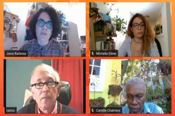 Michelle Ellner de Venezuela, Camille Chalmers de Haití y Carlos Aznárez de Argentina y director de Resumen Latinoamericano intercambiaron miradas en el ciclo radial Voces del Alba.
