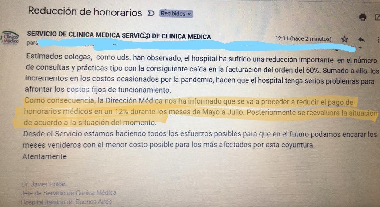 El Hospital Italiano le bajó el 12% el sueldo a sus médicos