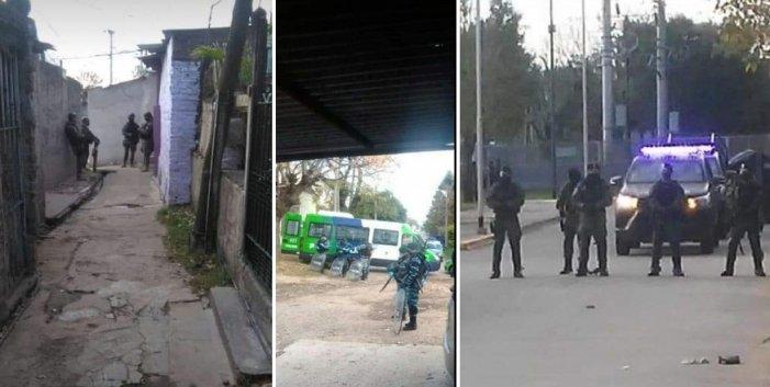 La Policía Bonaerense y la Gendarmería en las calles de Villa Azul | Fotos de vecinos del lugar