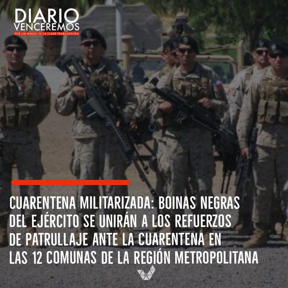 """La imagen puede contener: 4 personas, texto que dice """"DIARIO VENCEREMOS CUARENTENA MILITARIZADA: BOINAS NEGRAS DEL EJÉRCITO SE UNIRÁN A LOS REFUERZOS DE PATRULLAJE ANTE LA CUARENTENA EN LAS 12 COMUNAS DE LA REGIÓN METROPOLITANA"""""""