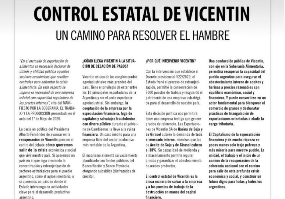 Más de 100 organizaciones firmaron una solicitada para apoyar el control estatal de Vicentin