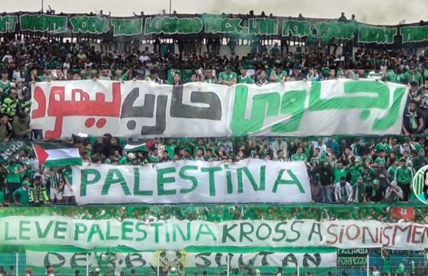 Palestina. Impactante y masivo aliento al pueblo palestino de los fans de un equipo marroquí