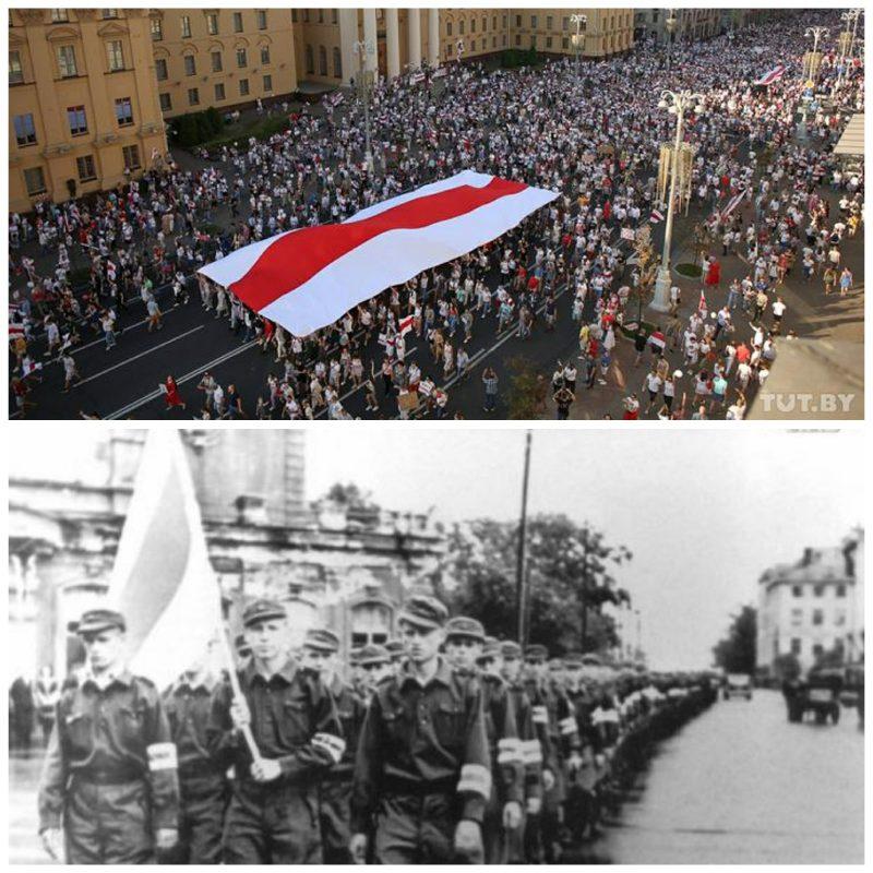 Fotos actuales e históricas de las manifestaciones en Minsk donde se viralizó el uso de la bandera rojiblanca utilizada por el gobierno de colaboración con la Alemania nazi