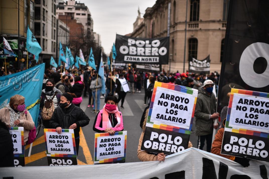 Centro. La manifestación de Polo Obrero comenzó frente a Patio Olmos. (Pedro Castillo)