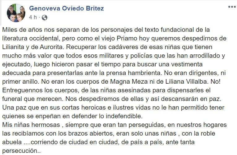 Parte de la publicación en la cuenta de Facebook de Genoveva Oviedo Britez. Foto: Captura de pantalla.