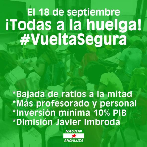 Nación Andaluza en apoyo a la huelga de educación del 18S ¡Por una vuelta segura a las aulas andaluzas!