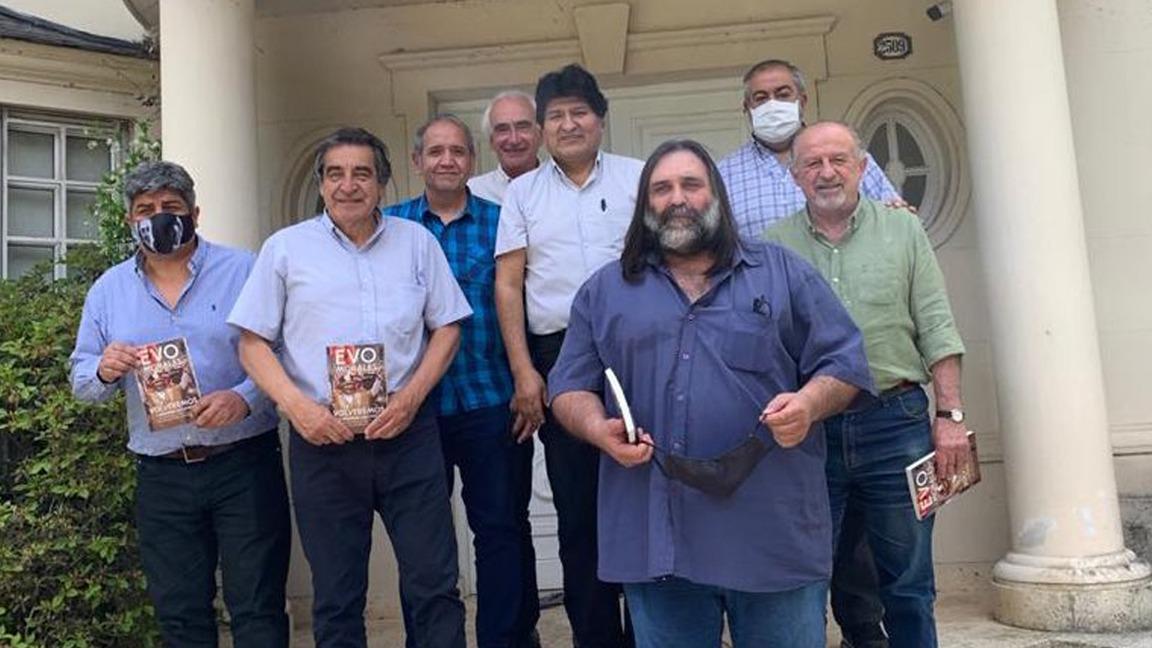 Evo Morales reunió a los líderes de las tres centrales obreras para celebrar su regreso a Bolivia