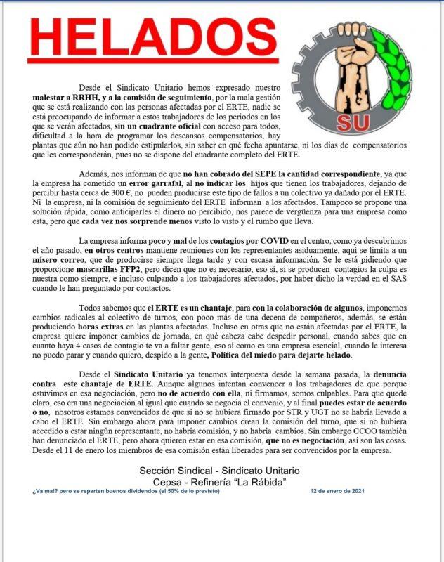 Huelva: Denuncian mala gestión y ERTE aplicado bajo el chantaje en la refinería de CEPSA de La Rabida
