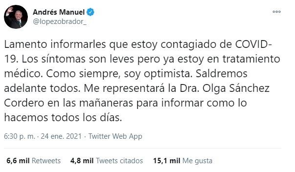 Tuit del Presidente donde dio a conocer la información.