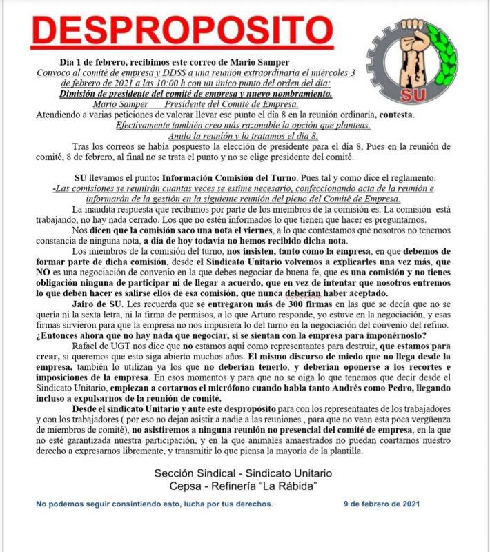 Huelva: Anuncian movilizaciones en la refinería de La Rábida ante ERTE impuesto por la patronal y UGT