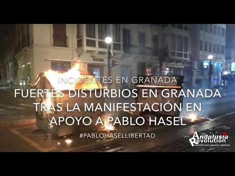 Granada: Concentración en apoyo a Pablo Hasel termina con cargas policiales y barricadas (vídeo)