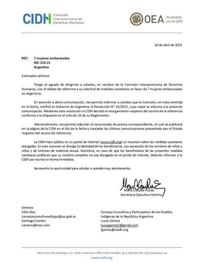 La CIDH emitió medidas cautelares el 16 de abril y le reclamó al Estado argentino que en 15 días informe del cumplimiento de las medidas a favor de las mujeres wichí.