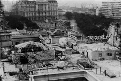 Azotea de la Casa Rosada tras los bombardeos.