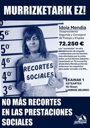 El último borrador de la RGI presentado por Idoia Mendia, ahonda aún más en los recortes