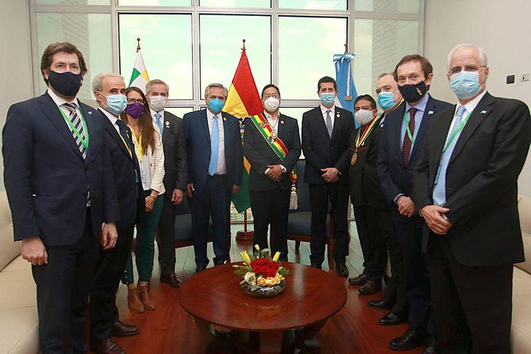 Alberto Fernández con el presidente de Bolivia, Luis Arce.