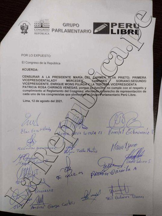 Bancada de Perú Libre acuerda presentar moción para censurar a la Mesa Directiva. Foto: documento