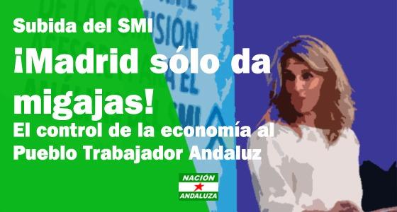"""Nación Andaluza califica el incremento del SMI como """"migajas de Madrid"""""""