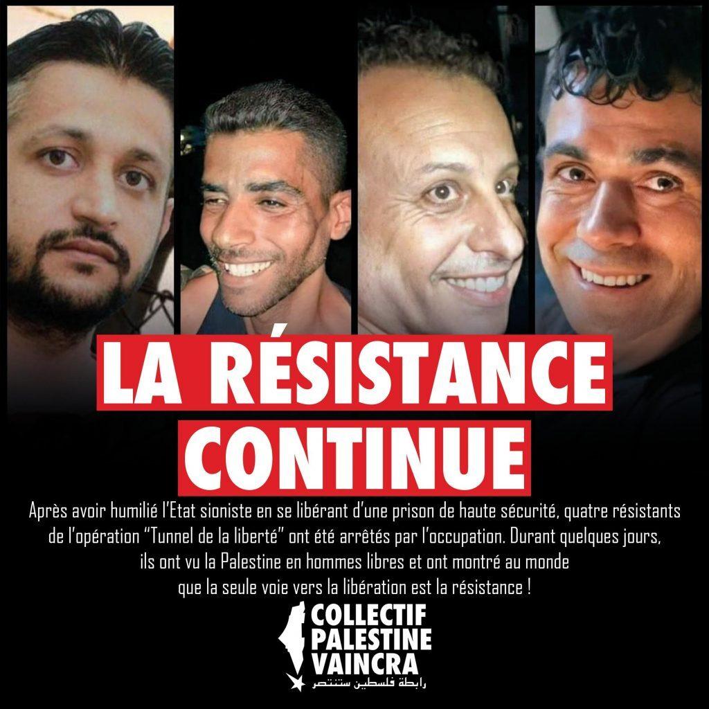 """Ya son cuatro presos palestinos del """"túnel de la libertad"""" arrestados mientras se intensifica la movilización en las cárceles sionistas"""