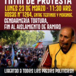 Chile. Mitin de protesta para que termine tortura y aislamiento de prisionero político antifascista «Ramiro»