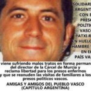 Euskal Herria. Organización argentina solidaria con el pueblo vasco realiza campaña por el preso político Patxi Ruiz, en huelga de hambre y sed en Murcia