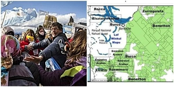 """Nación Mapuche. Villa Mascardi.""""Banderazo patriótico"""" antimapuche en defensa de inversores extranjeros para el negocio inmobiliario y la apropiación de tierras ancestrales contra la naturaleza"""