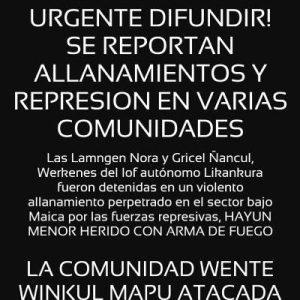Nación Mapuche. Chile. Varias Comunidades han sido atacadas por fuerzas de seguridad