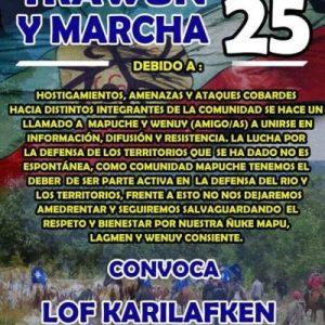 Nación Mapuche. Convocatoria y Mensaje de la Red de Apoyo al Machi Celestino Córdova y demás PPM