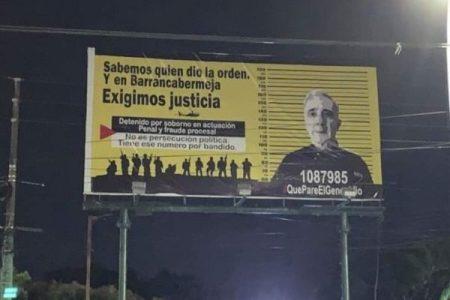Colombia. Valla publicitaria contra Uribe Vélez en Barrancabermeja expresa opinión popular
