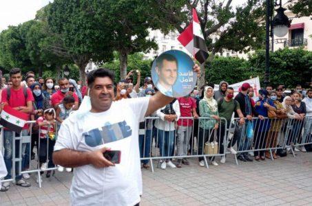 Tunecinos protestan y exigen restablecer las relaciones de su país con Siria y romper el bloqueo