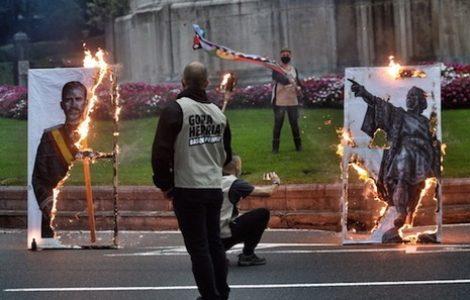 Euskal Herria. Manifestaciones de repudio al 12 de octubre y a la corona