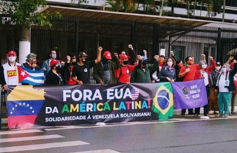 Brasil. Realizan concentración frente al consulado de Estados Unidos en Sao Paulo en denuncia por los golpes de Estado y el intervencionismo