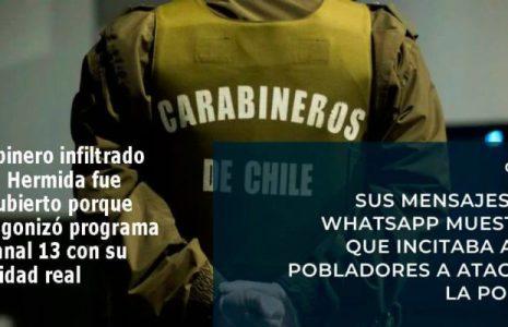 Chile. Carabinero infiltrado fue descubierto porque protagonizó programa de Canal 13 con su identidad real