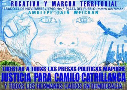 Nación Mapuche.  Homenaje al weichefe Camilo Catrillanca