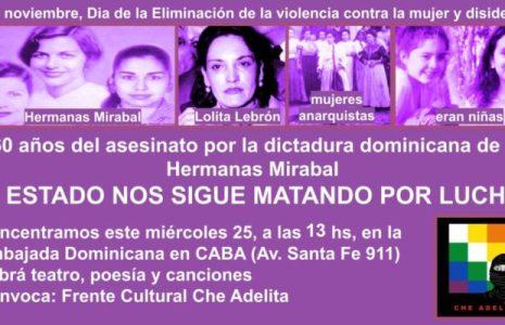 Argentina. Recordarán este miércoles en un acto político-cultural a las Hermanas Mirabal y otras luchadoras del continente // Estará presente Myriam Villalba,  madre de una de las niñas asesinadas en Paraguay