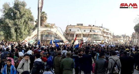 Siria. Residentes de Al Hasaka se manifiestan en contra de la presencia de las fuerzas estadounidenses y turcas