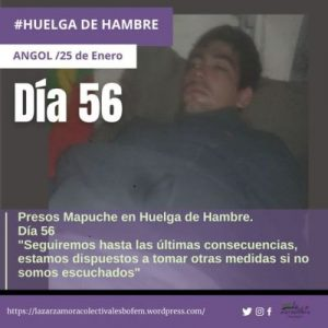 Nación Mapuche. Cárcel de Angol. Comunicado Público. Presos Políticos en Huelga de Hambre