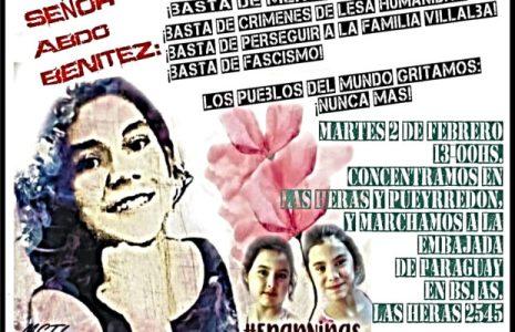 Paraguay. 2 de febrero: jornada de lucha por la aparición con vida de Lichita, justicia para Lilian y María Carmen, y por la libertad de Laura Villalba