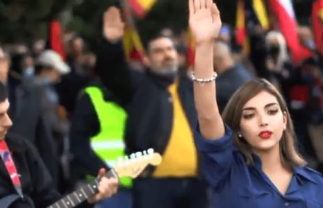 Estado español. Desfile de fascistas en homenaje a la División Azul que en la guerra luchó junto a los nazis contra la URSS