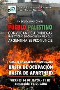 Argentina. Convocan este viernes a movilizarse frente a la Cancillería en apoyo al pueblo palestino /Se entregará un petitorio