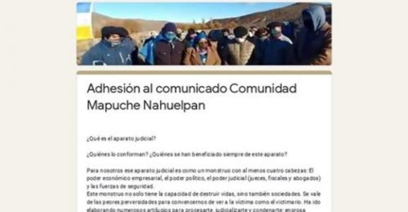 Nación Mapuche. Adhesión al comunicado Comunidad Nahuelpan
