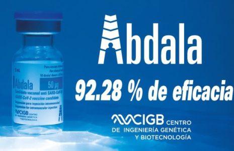 Cuba. Abdala, con tres dosis, tiene una eficacia de 92,28 %