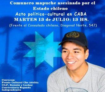 Argentina. Homenajearán este martes en un acto político-cultural al weichafe mapuche Pablo Marchant asesinado por la policía