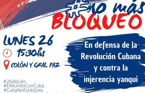 Argentina. En Córdoba marcharán el 26 de julio para expresar total solidaridad con la Revolución Cubana y condenar el bloqueo