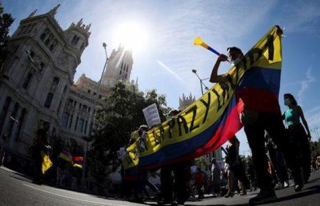 Colombia. Manifestación en Madrid contra la visita de Iván Duque