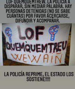 Nación Mapuche.  Lof Quemquentreu,  repremidos por parte de la policía de RíoNegro y el Grupo Especial C.O.E.R.