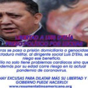 Argentina. Exigen libertad del dirigente social Luis D'Elía quien ha sufrido una recaída en su estado de salud