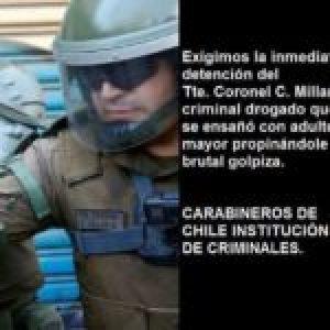 Chile. Identifican al Tte. Coronel de Carabineros que golpeó sin piedad a un anciano