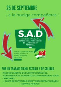 Granada: El SAT se suma a la huelga de la Ayuda a Domicilio